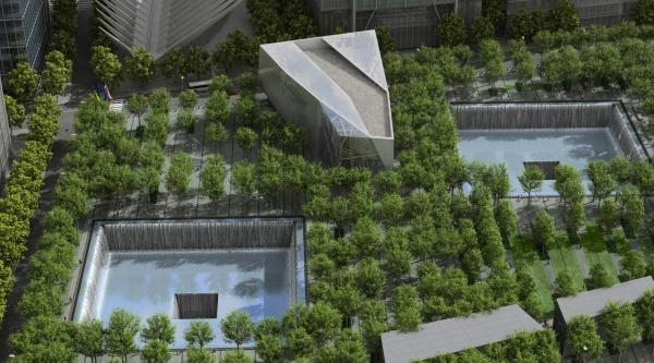 9/11 Memorial renderings, aerial view (c) 9/11 Memorial.org (from their website)